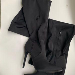 Shoedazzle Black stiletto thigh high boots
